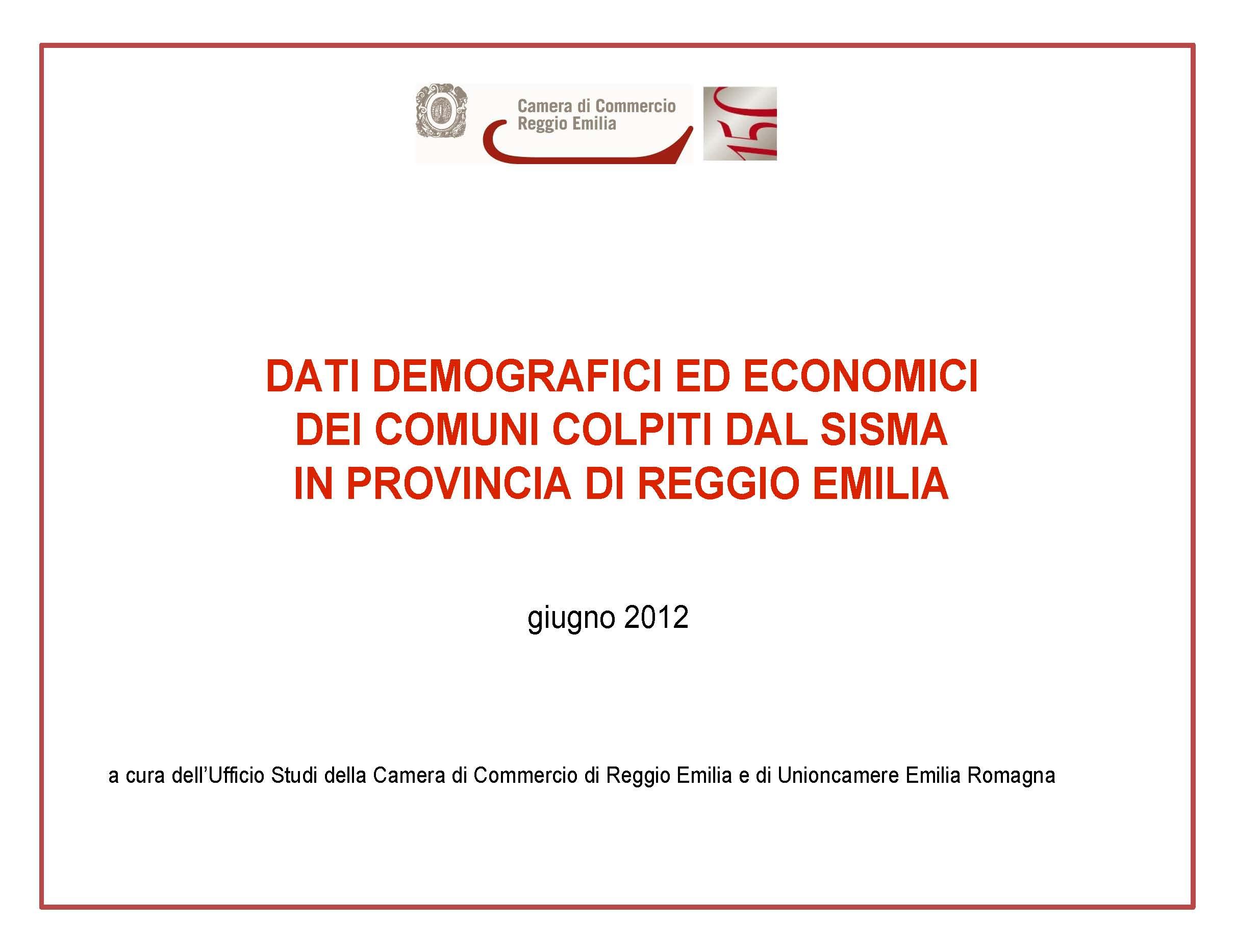 Dati demografici ed economici dei comuni colpiti dal sisma for Camera di commercio della romagna