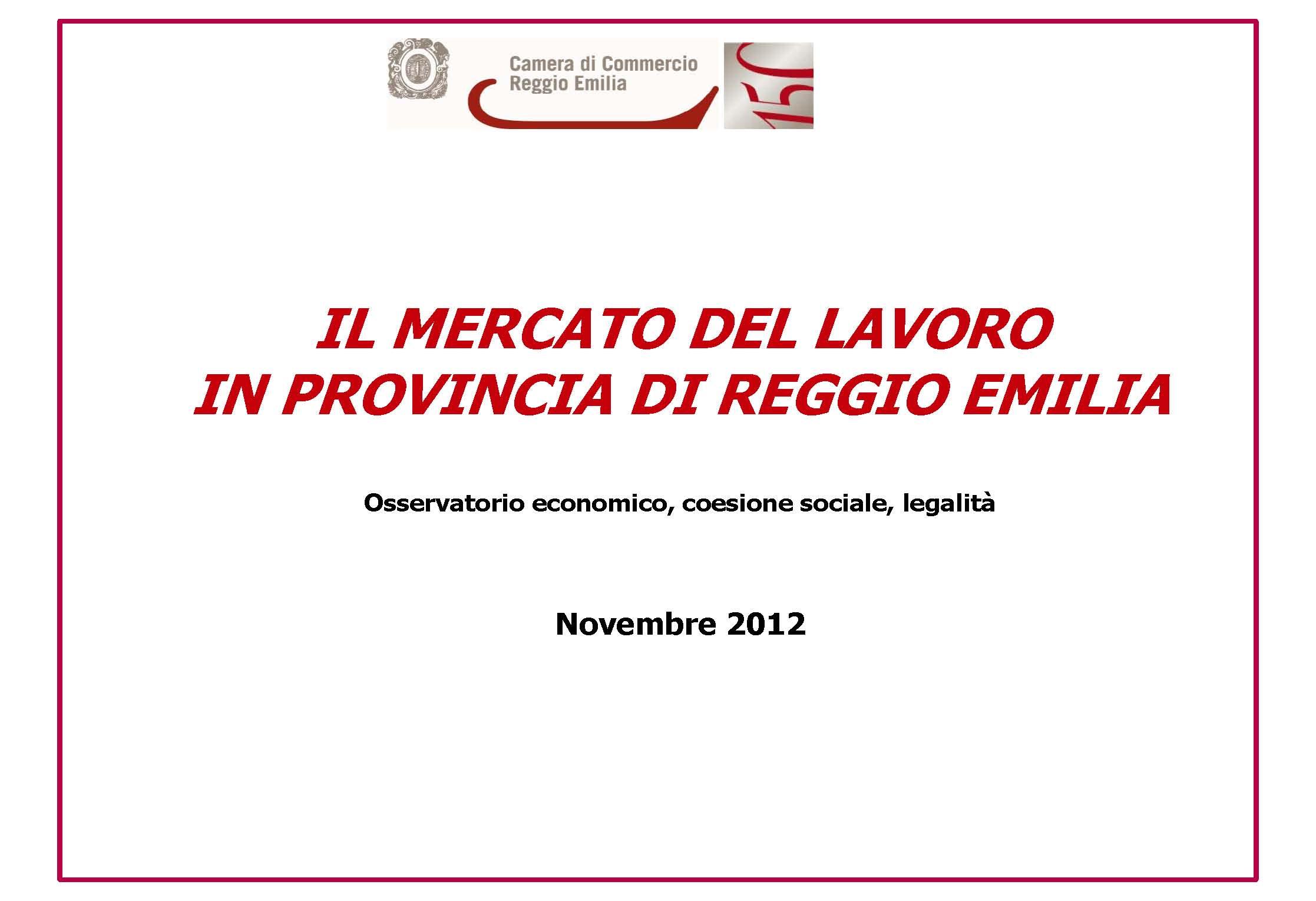 Il mercato del lavoro in provincia di reggio emilia for Camera di commercio della romagna