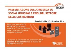 Social housing e crisi del settore delle costruzioni